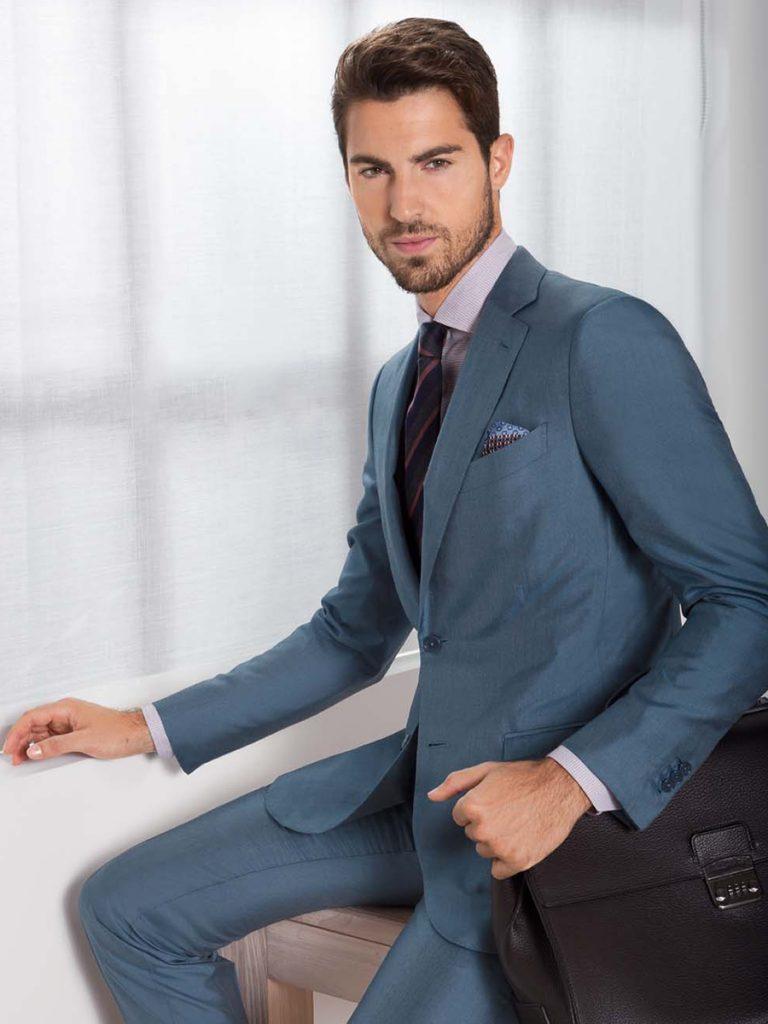 Business Man in beautiful light blue italian suit